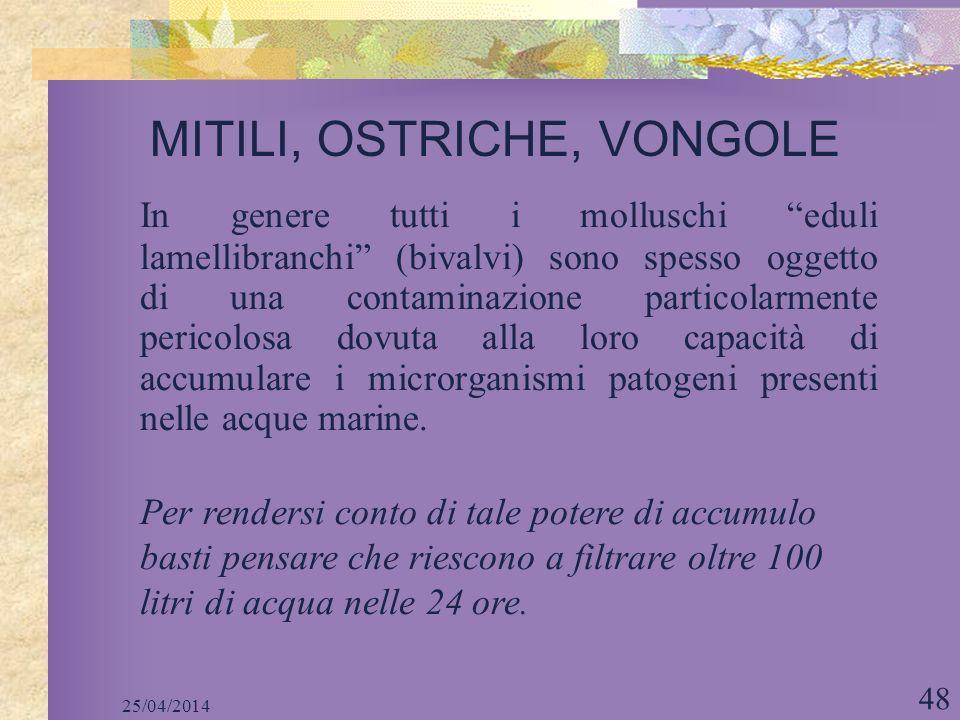 MITILI, OSTRICHE, VONGOLE