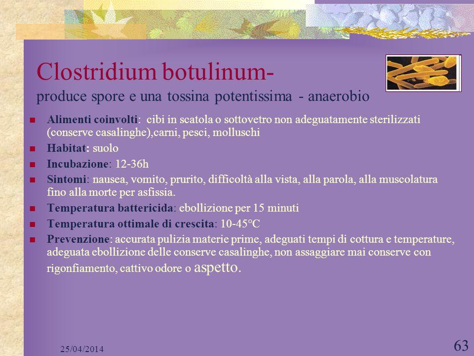 Clostridium botulinum- produce spore e una tossina potentissima - anaerobio
