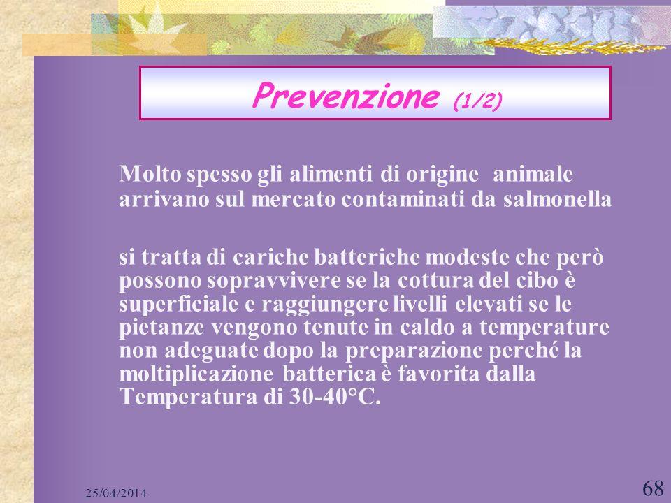 Prevenzione (1/2) Molto spesso gli alimenti di origine animale arrivano sul mercato contaminati da salmonella.