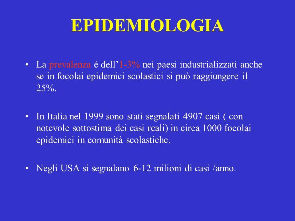 EPIDEMIOLOGIA La prevalenza è dell'1-3% nei paesi industrializzati anche se in focolai epidemici scolastici si può raggiungere il 25%.