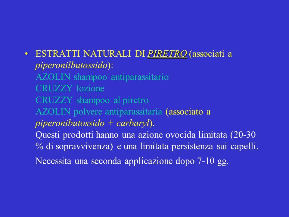 ESTRATTI NATURALI DI PIRETRO (associati a piperonilbutossido): AZOLIN shampoo antiparassitario CRUZZY lozione CRUZZY shampoo al piretro AZOLIN polvere antiparassitaria (associato a piperonibutossido + carbaryl).