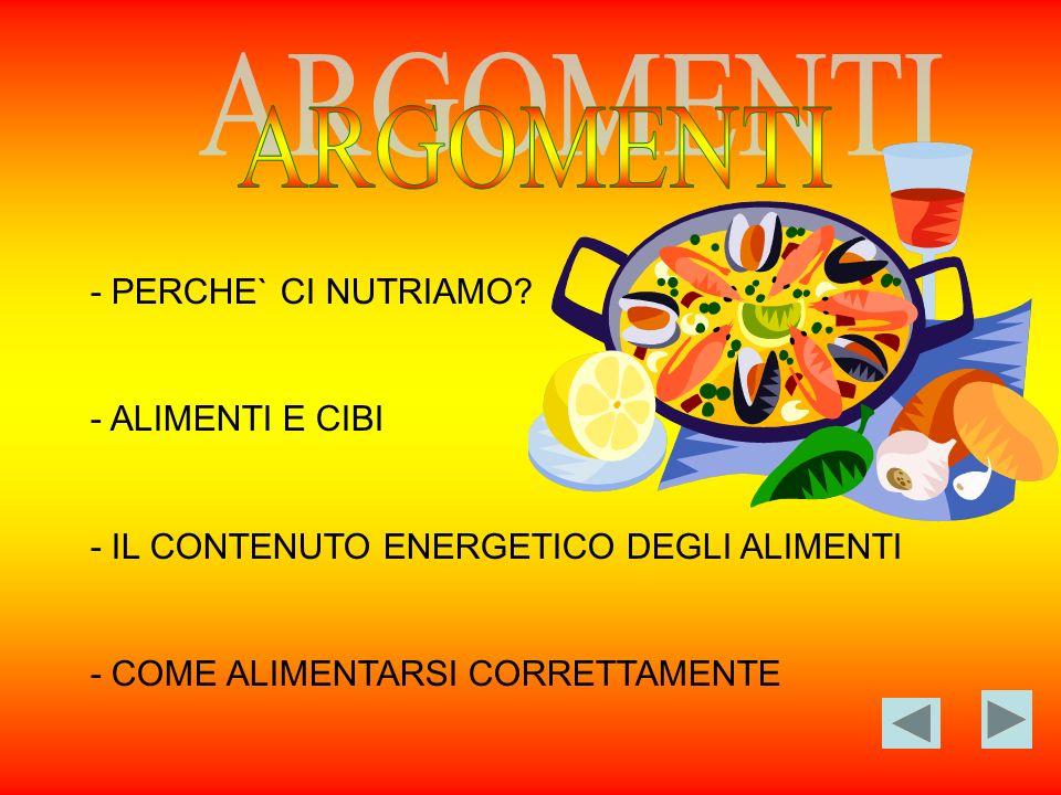 ARGOMENTI - PERCHE` CI NUTRIAMO - ALIMENTI E CIBI