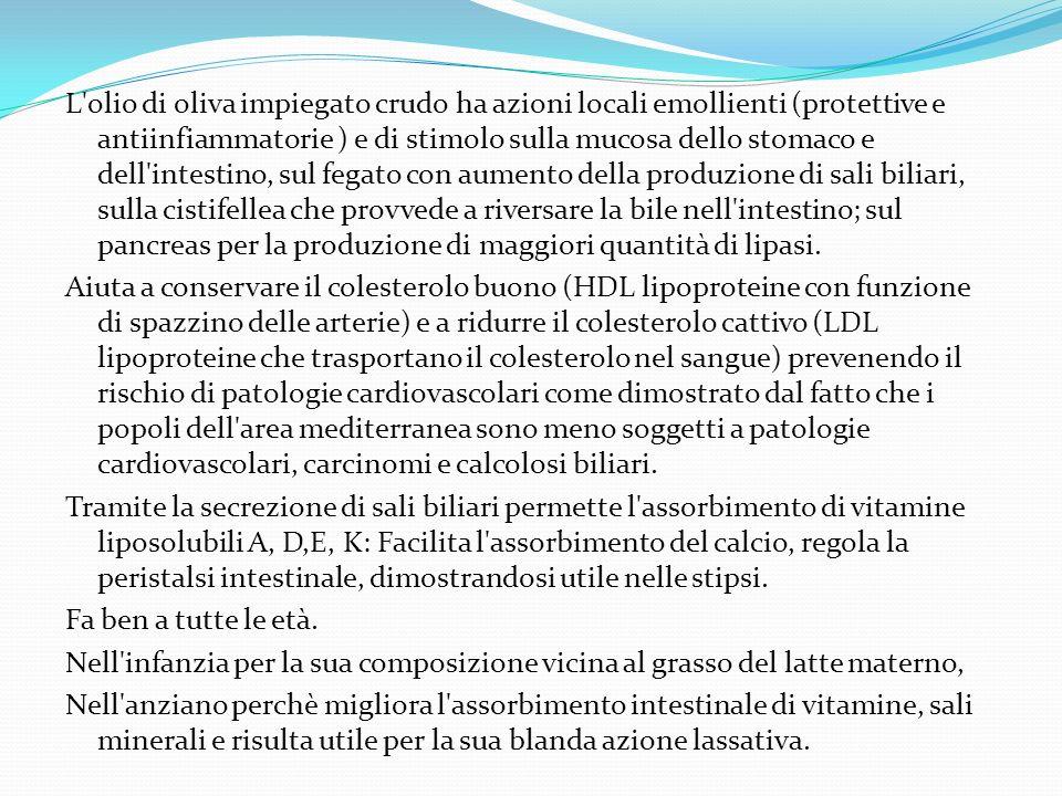 L olio di oliva impiegato crudo ha azioni locali emollienti (protettive e antiinfiammatorie ) e di stimolo sulla mucosa dello stomaco e dell intestino, sul fegato con aumento della produzione di sali biliari, sulla cistifellea che provvede a riversare la bile nell intestino; sul pancreas per la produzione di maggiori quantità di lipasi.