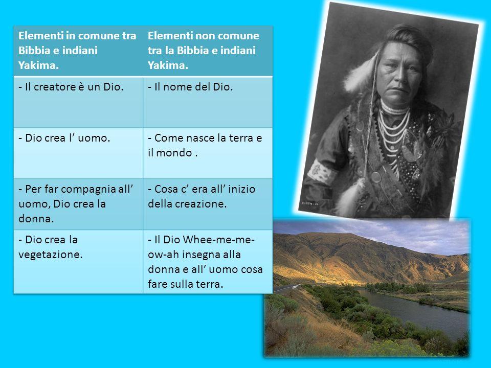 Elementi in comune tra Bibbia e indiani Yakima.