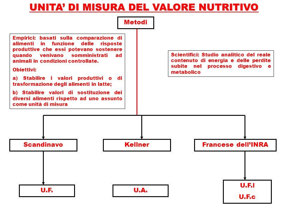 UNITA' DI MISURA DEL VALORE NUTRITIVO