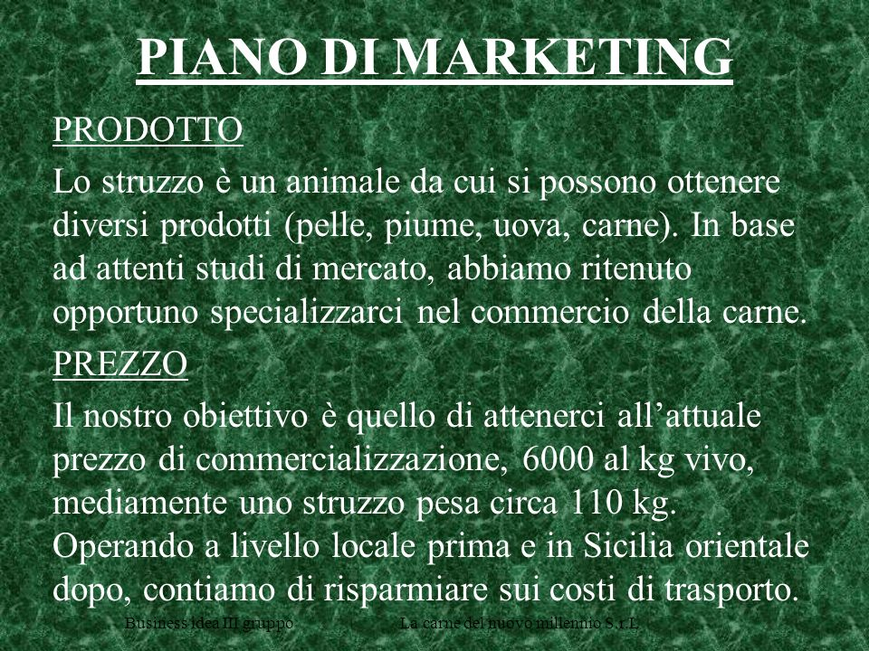 PIANO DI MARKETING PRODOTTO
