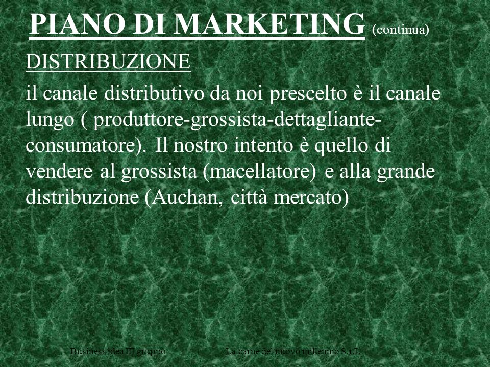 PIANO DI MARKETING (continua)