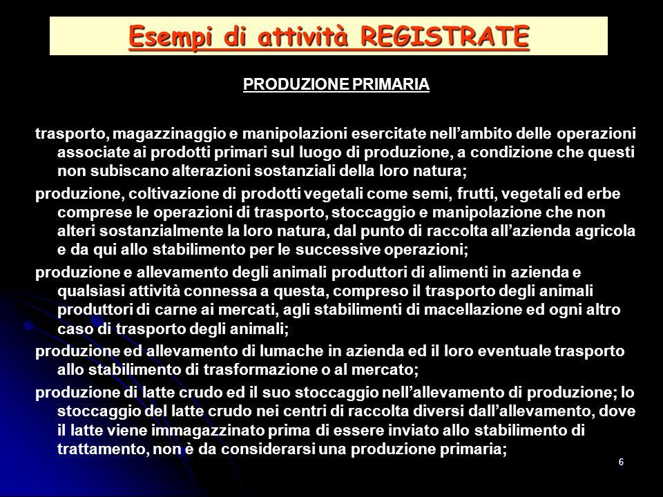 Esempi di attività REGISTRATE