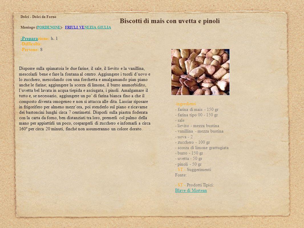 Biscotti di mais con uvetta e pinoli