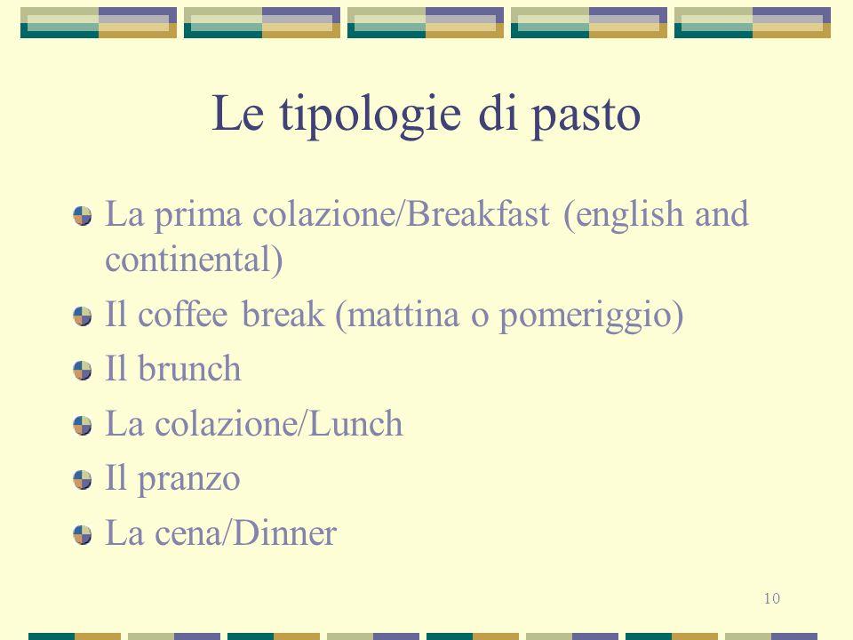 Le tipologie di pasto La prima colazione/Breakfast (english and continental) Il coffee break (mattina o pomeriggio)