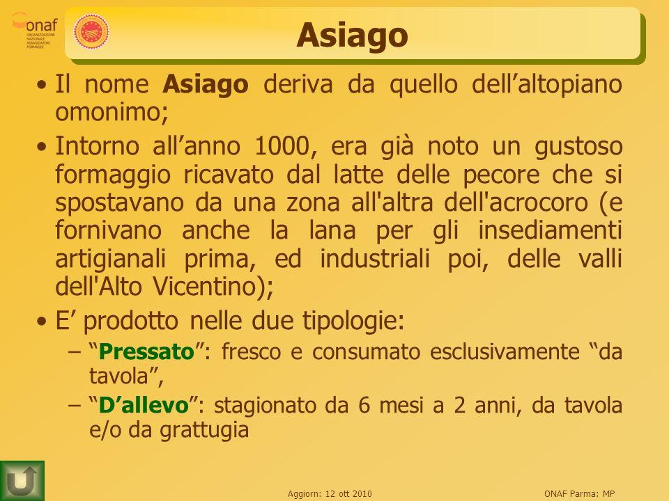 Asiago Il nome Asiago deriva da quello dell'altopiano omonimo;