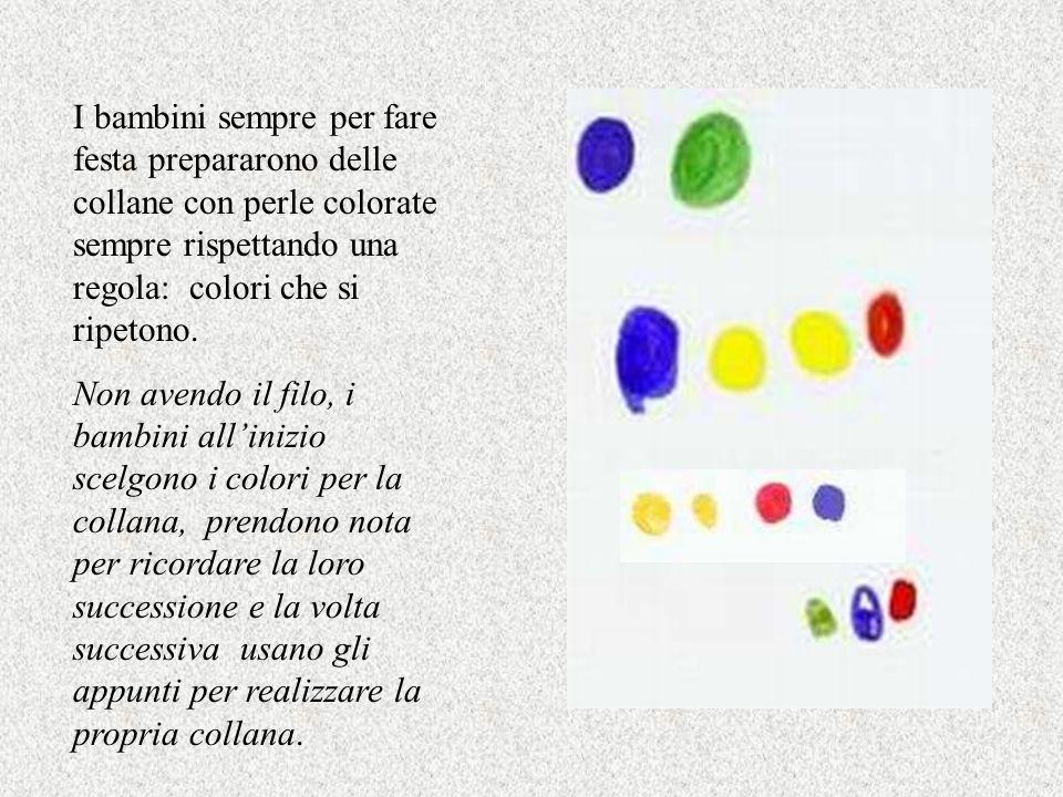 I bambini sempre per fare festa prepararono delle collane con perle colorate sempre rispettando una regola: colori che si ripetono.