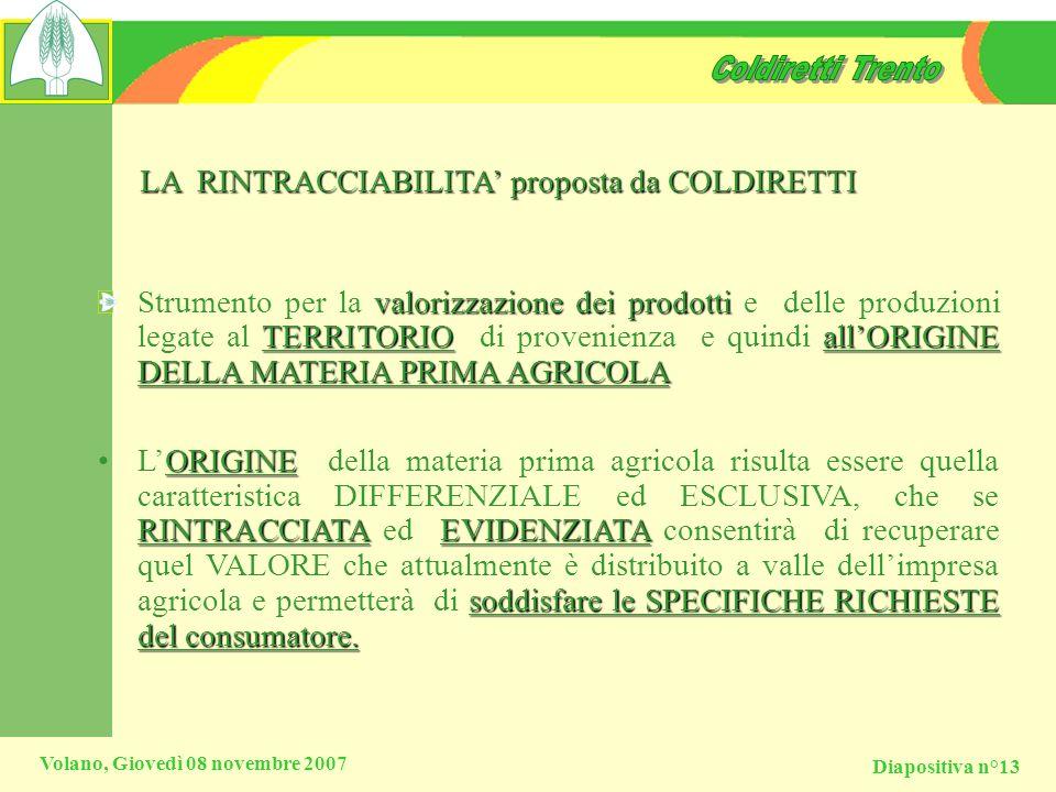 LA RINTRACCIABILITA' proposta da COLDIRETTI