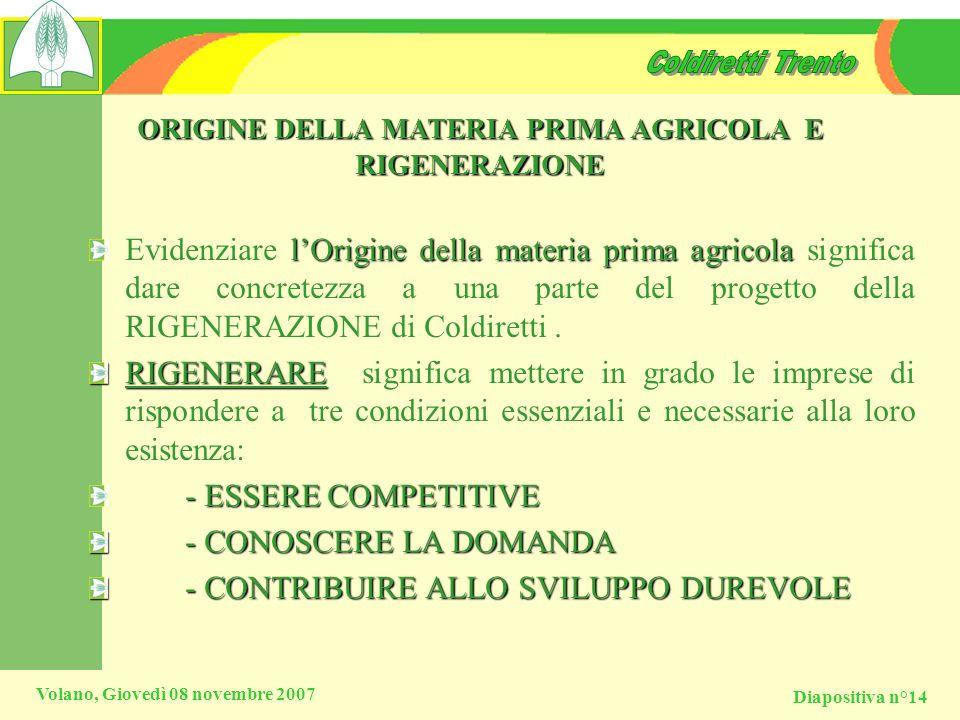 ORIGINE DELLA MATERIA PRIMA AGRICOLA E RIGENERAZIONE