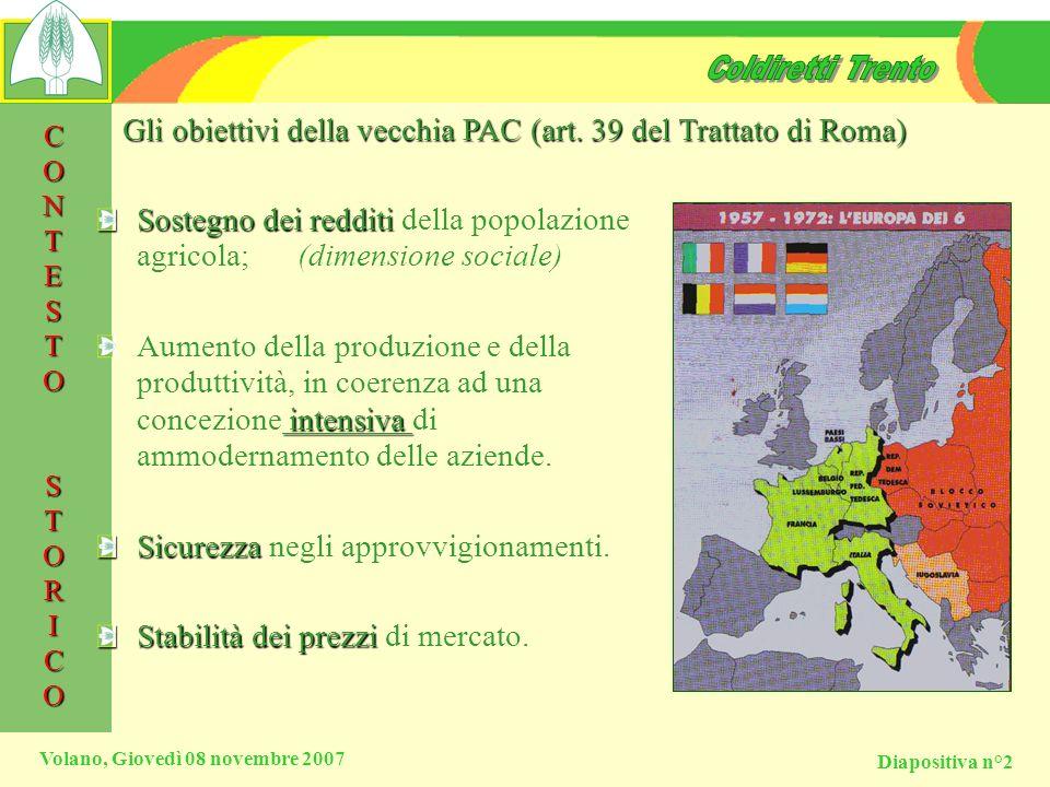 Gli obiettivi della vecchia PAC (art. 39 del Trattato di Roma)