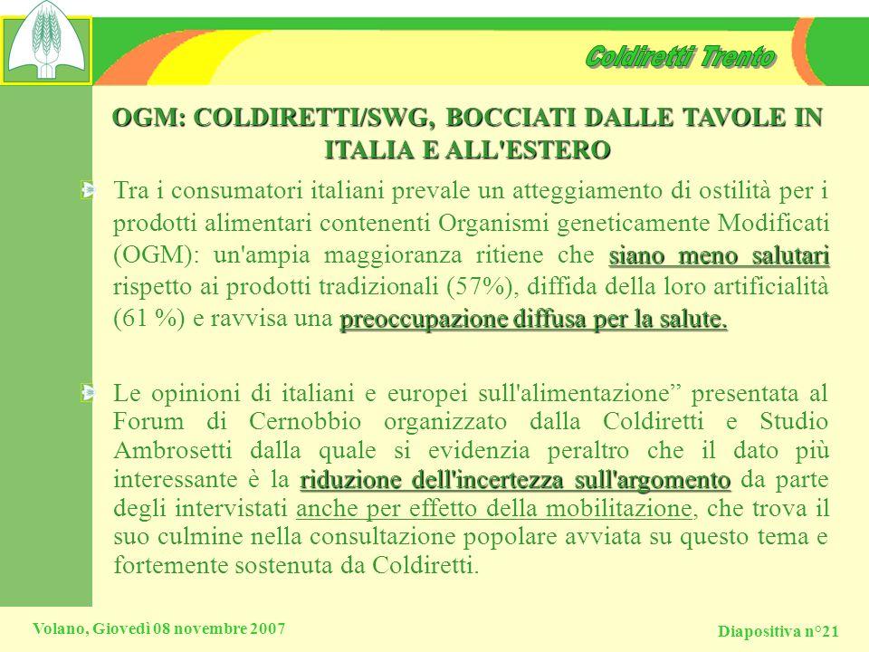 OGM: COLDIRETTI/SWG, BOCCIATI DALLE TAVOLE IN ITALIA E ALL ESTERO