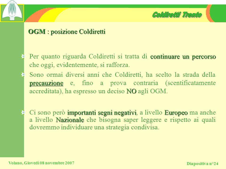 OGM : posizione Coldiretti