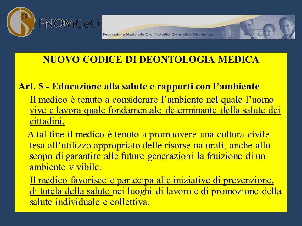 NUOVO CODICE DI DEONTOLOGIA MEDICA