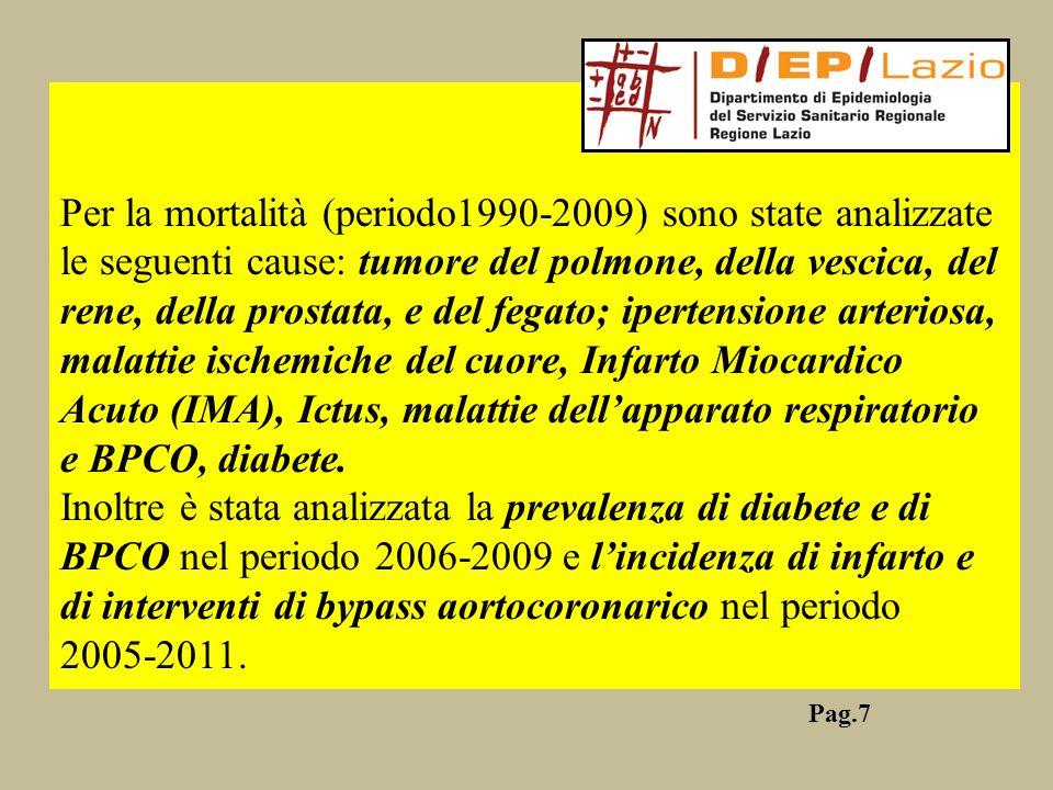 Per la mortalità (periodo1990-2009) sono state analizzate le seguenti cause: tumore del polmone, della vescica, del rene, della prostata, e del fegato; ipertensione arteriosa, malattie ischemiche del cuore, Infarto Miocardico Acuto (IMA), Ictus, malattie dell'apparato respiratorio e BPCO, diabete.