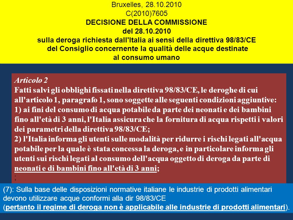 Bruxelles, 28.10.2010 C(2010)7605. DECISIONE DELLA COMMISSIONE. del 28.10.2010.