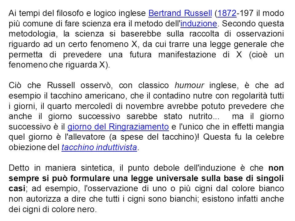 Ai tempi del filosofo e logico inglese Bertrand Russell (1872-197 il modo più comune di fare scienza era il metodo dell induzione. Secondo questa metodologia, la scienza si baserebbe sulla raccolta di osservazioni riguardo ad un certo fenomeno X, da cui trarre una legge generale che permetta di prevedere una futura manifestazione di X (cioè un fenomeno che riguarda X).
