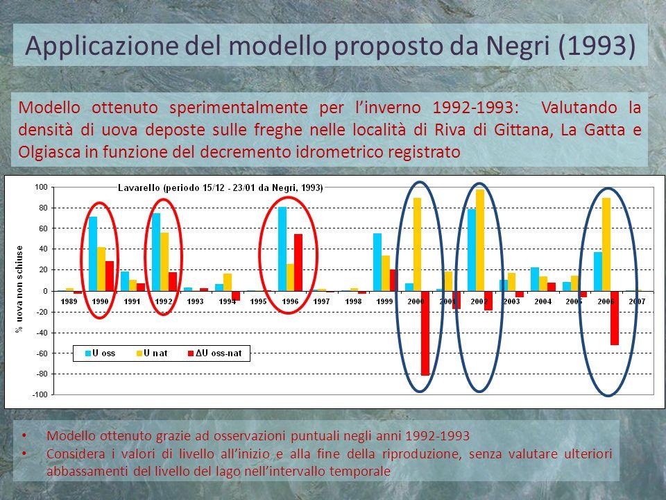 Applicazione del modello proposto da Negri (1993)