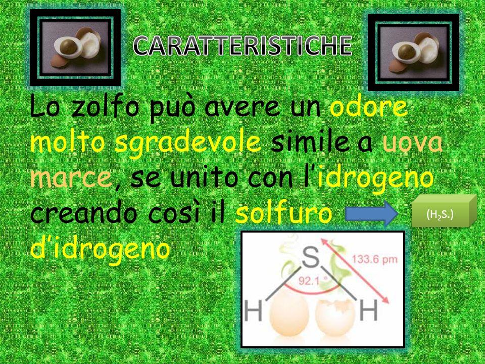 CARATTERISTICHE Lo zolfo può avere un odore molto sgradevole simile a uova marce, se unito con l'idrogeno creando così il solfuro d'idrogeno.