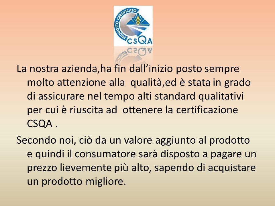 La nostra azienda,ha fin dall'inizio posto sempre molto attenzione alla qualità,ed è stata in grado di assicurare nel tempo alti standard qualitativi per cui è riuscita ad ottenere la certificazione CSQA .