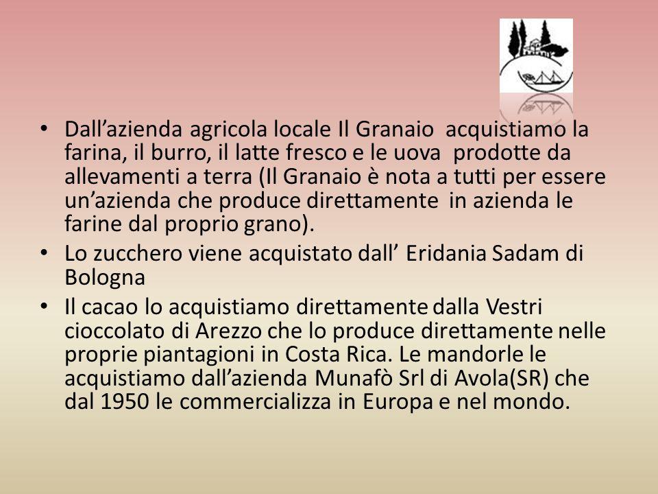 Dall'azienda agricola locale Il Granaio acquistiamo la farina, il burro, il latte fresco e le uova prodotte da allevamenti a terra (Il Granaio è nota a tutti per essere un'azienda che produce direttamente in azienda le farine dal proprio grano).