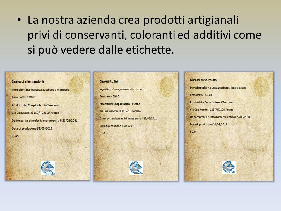 La nostra azienda crea prodotti artigianali privi di conservanti, coloranti ed additivi come si può vedere dalle etichette.