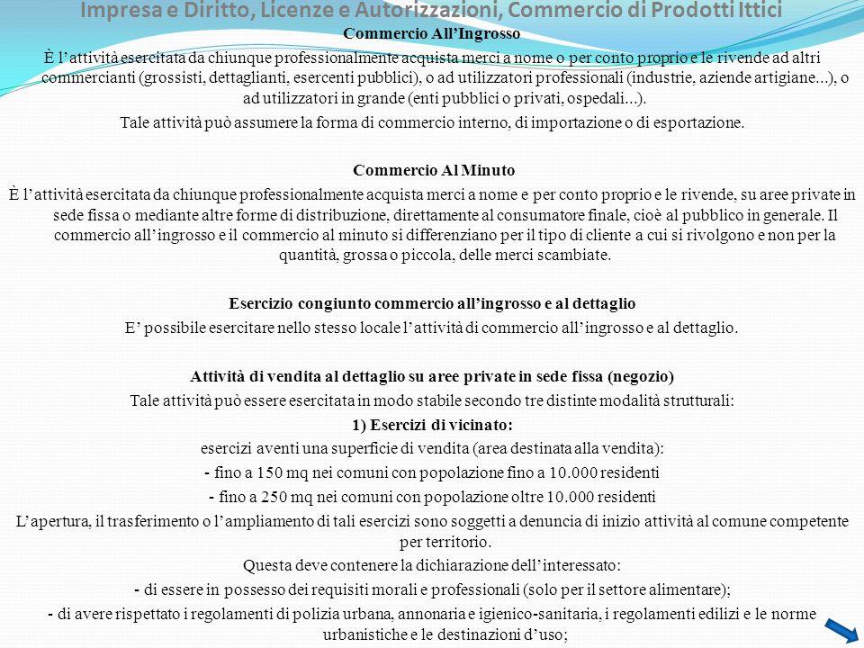 Impresa e Diritto, Licenze e Autorizzazioni, Commercio di Prodotti Ittici