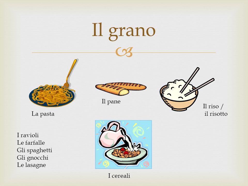 Il grano Il pane Il riso / il risotto La pasta I ravioli Le farfalle