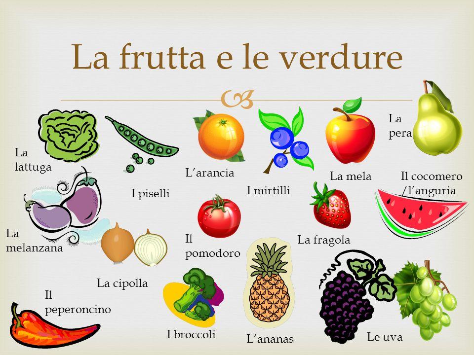 La frutta e le verdure La pera La lattuga L'arancia La mela