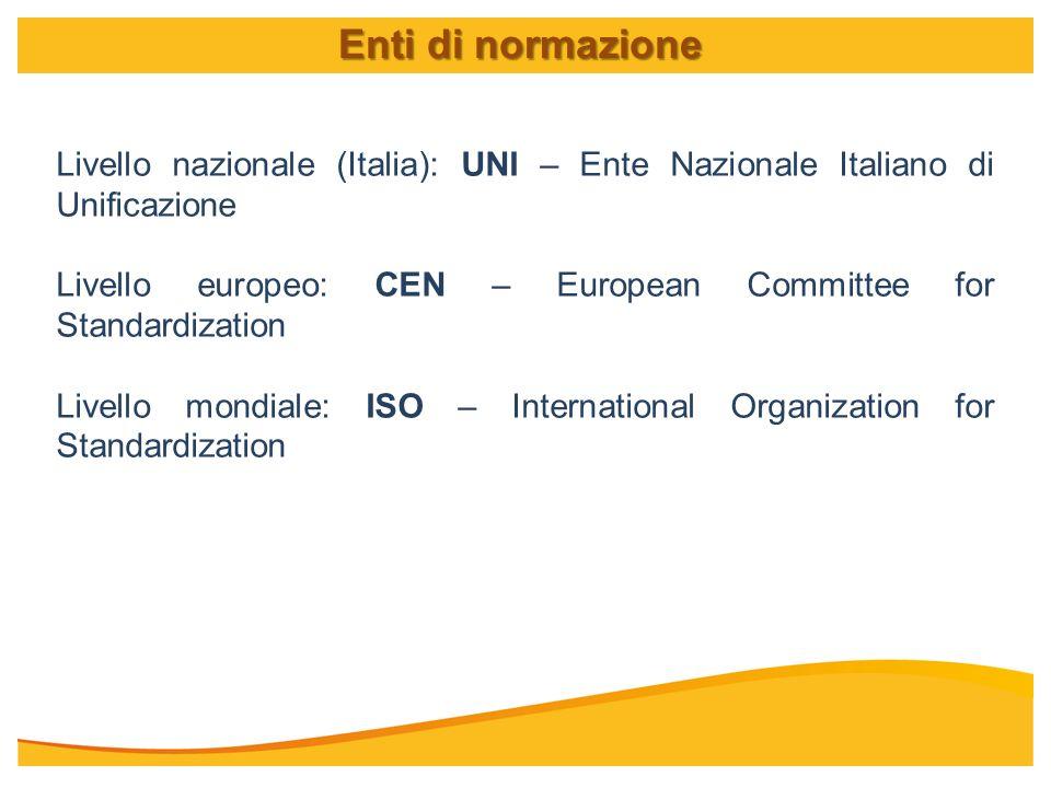 Enti di normazione Livello nazionale (Italia): UNI – Ente Nazionale Italiano di Unificazione.