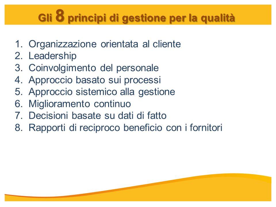 Gli 8 principi di gestione per la qualità