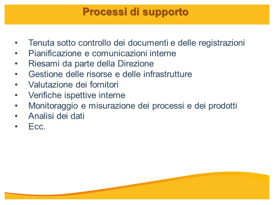 Processi di supporto Tenuta sotto controllo dei documenti e delle registrazioni. Pianificazione e comunicazioni interne.