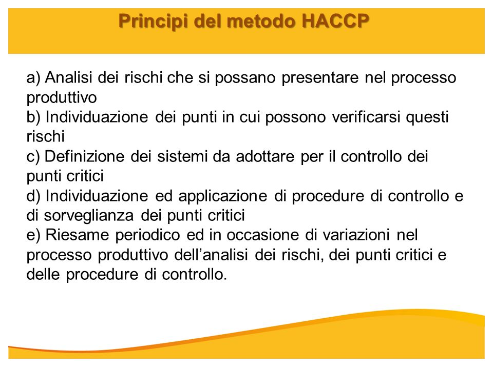 Principi del metodo HACCP