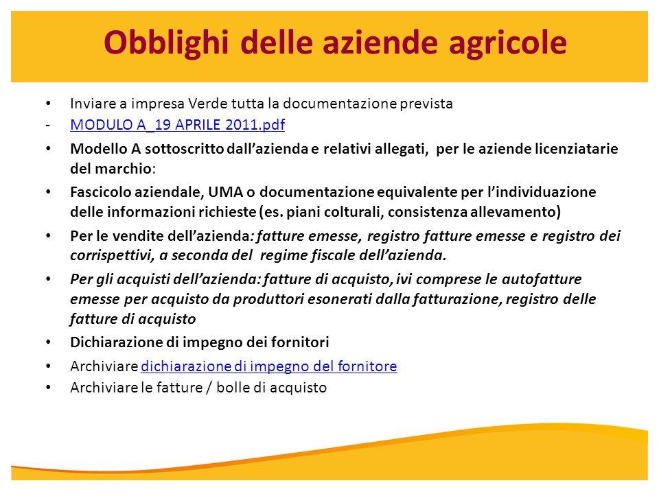 Obblighi delle aziende agricole