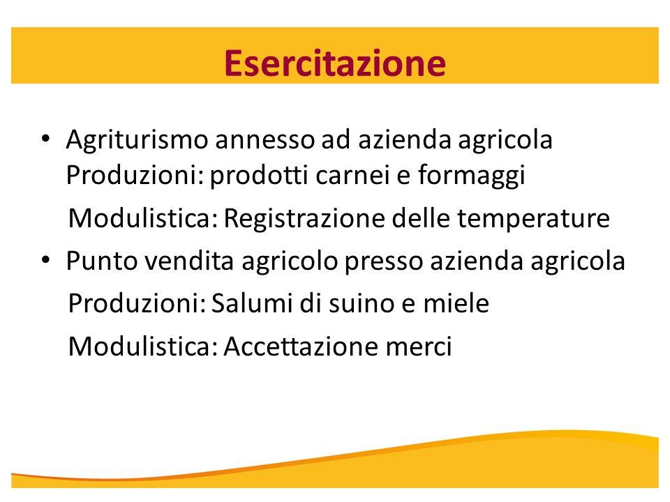 Esercitazione Agriturismo annesso ad azienda agricola Produzioni: prodotti carnei e formaggi. Modulistica: Registrazione delle temperature.