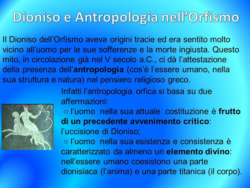 Dioniso e Antropologia nell'Orfismo