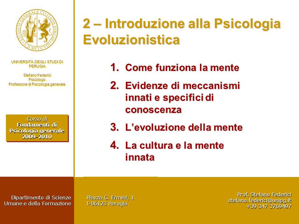 2 – Introduzione alla Psicologia Evoluzionistica