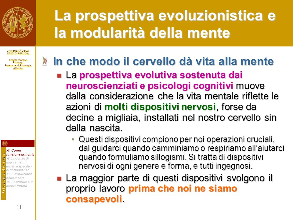 La prospettiva evoluzionistica e la modularità della mente