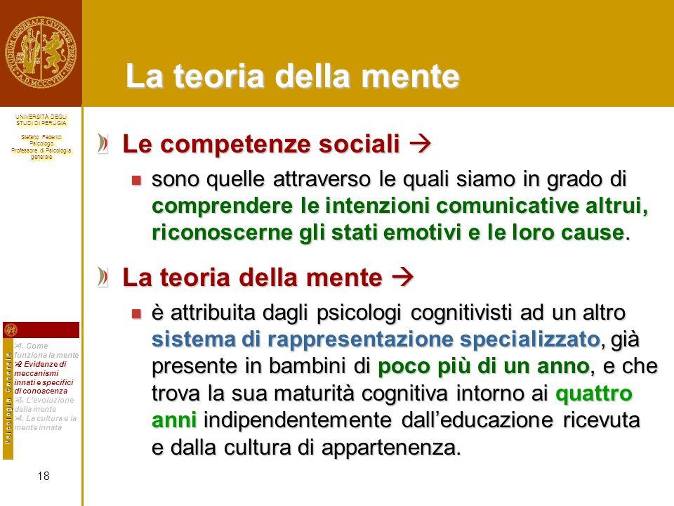 La teoria della mente Le competenze sociali  La teoria della mente 