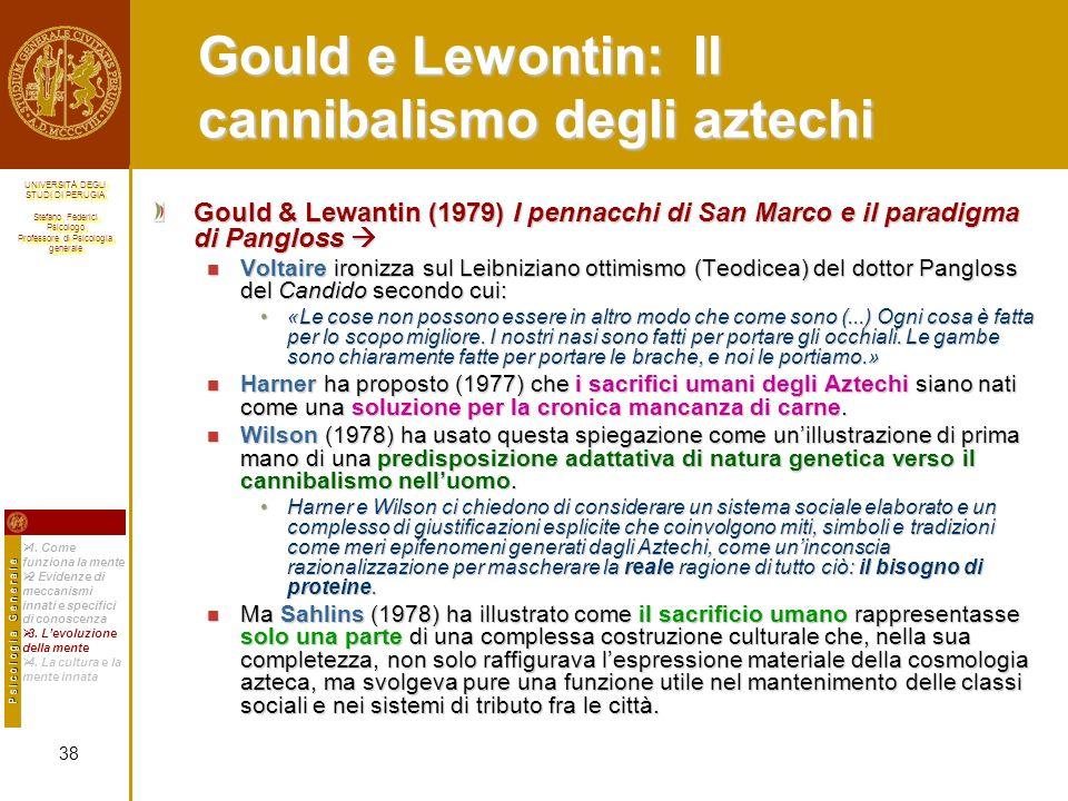 Gould e Lewontin: Il cannibalismo degli aztechi