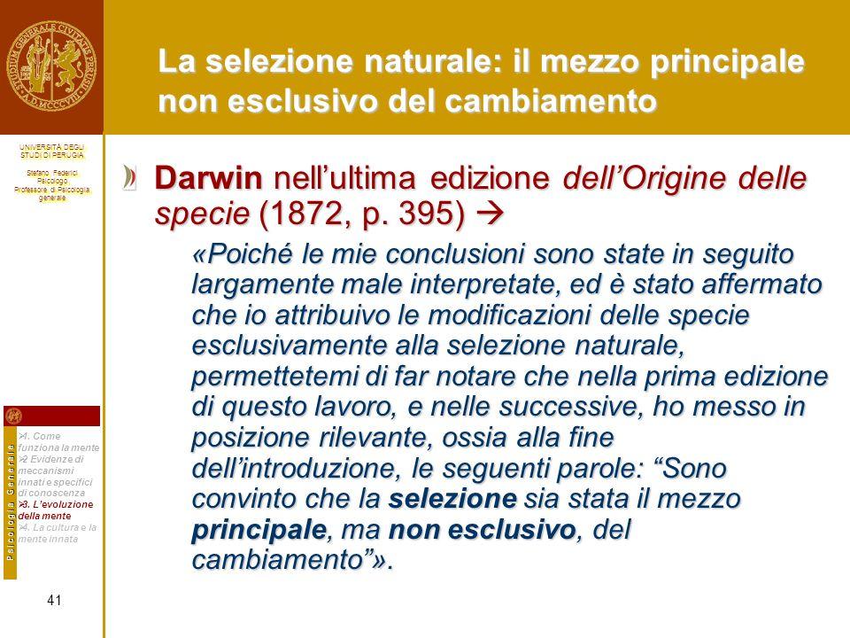 Darwin nell'ultima edizione dell'Origine delle specie (1872, p. 395) 