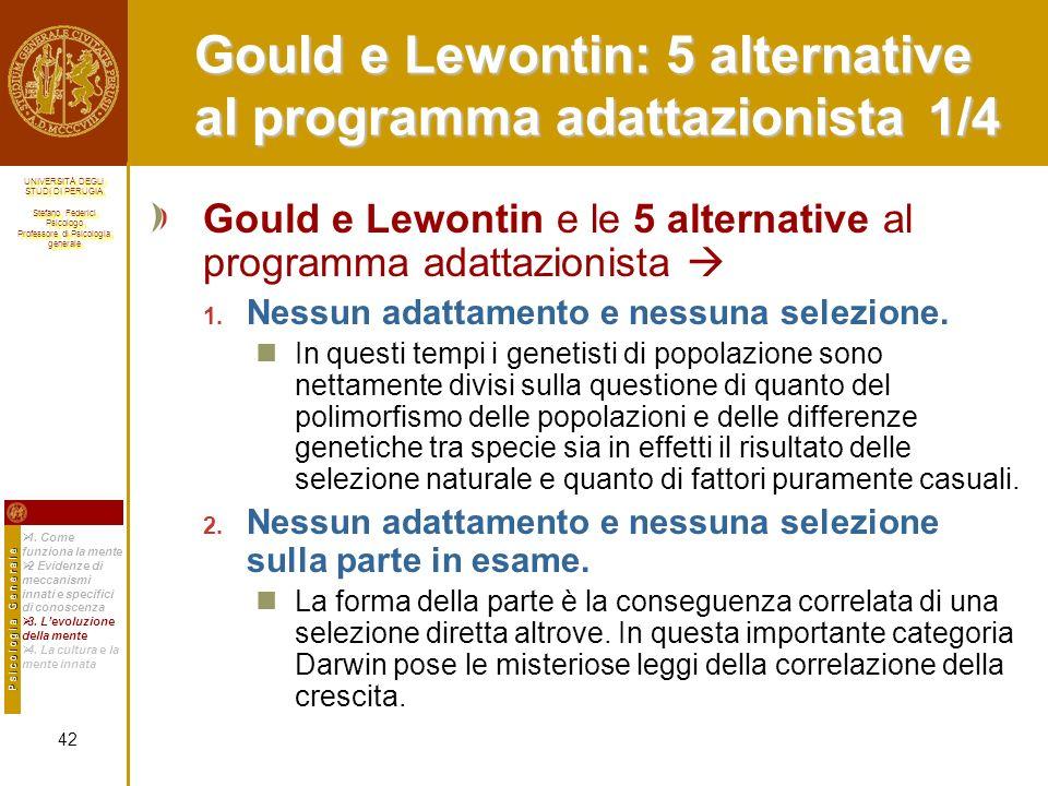 Gould e Lewontin: 5 alternative al programma adattazionista 1/4