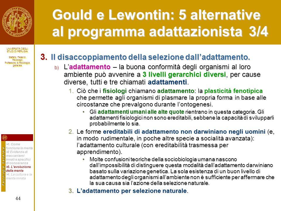 Gould e Lewontin: 5 alternative al programma adattazionista 3/4