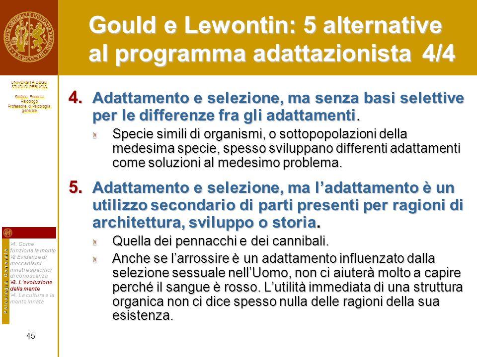 Gould e Lewontin: 5 alternative al programma adattazionista 4/4