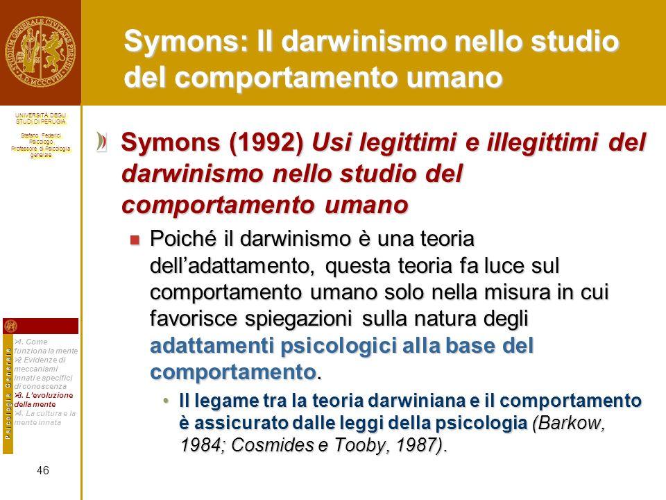 Symons: Il darwinismo nello studio del comportamento umano