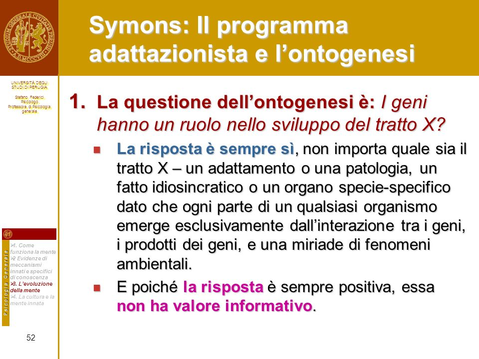 Symons: Il programma adattazionista e l'ontogenesi